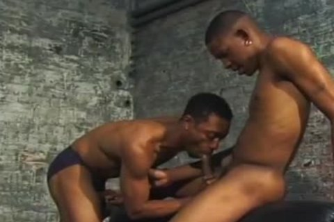 black gay couple hammer Each Other In Dungeon