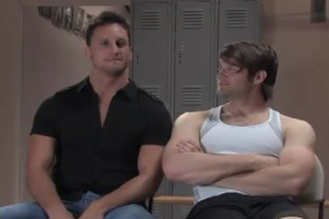 Two Muscle homosexual men bondage pound In Gym