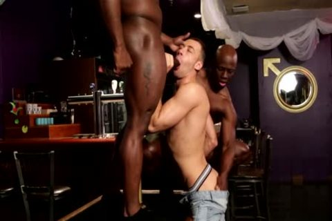 Two Blacks And White lad enjoy A 3some