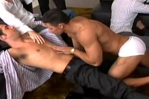 A Striptease That Leads To A large gay orgy!