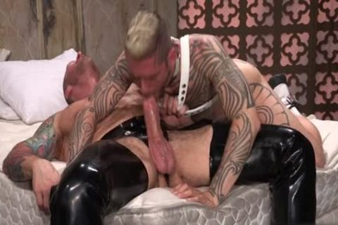 Tattoo'd Muscle Beefcakes With Bum Love Behind nailing Fetish lick penis And Take A semen flow