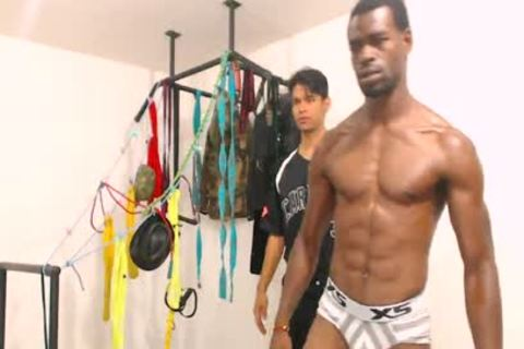Tairon And Alexandro - Flirt4Free - black fellow In Army Garb Flexes whilst Latino Buddy Gives Him A Hard cook jerking