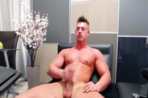 Aiden Kay - Flirt4Free - pumped up Blue Eyed cam chap Strokes His giant penis