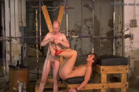 fastened Up twink Endures coarse bare slamming By master