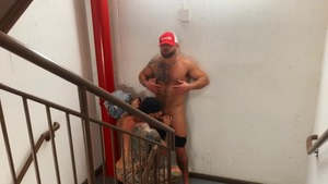 Pup & Tank suck Their Loads In A Staircase - ass Love