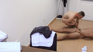 DirtyScout.com: Dirty scout handjob in office