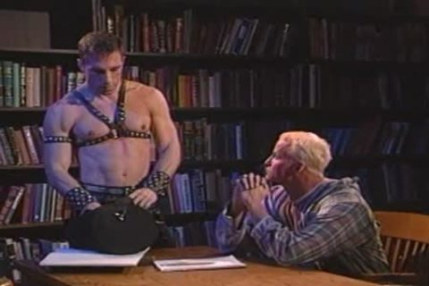 Leather Daddy Dominating a blonde